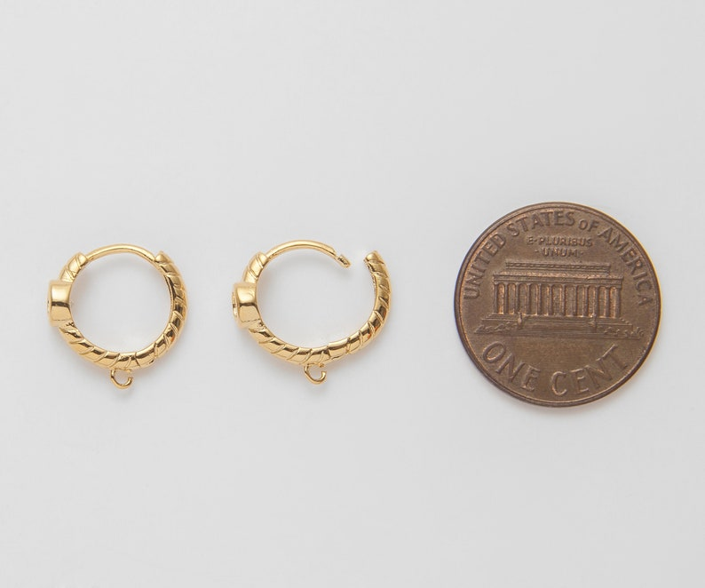 gold one touch Gold cubic one touch hoop 2 Pieces gold hoops Polished Gold Plated