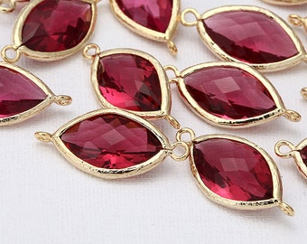 Fuchsia Glass Connector, Pendant Polished Gold-Plated - 2 Pieces [G0015-PGFC]