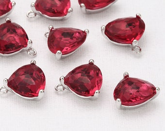 Fuchsia Glass Triangle Teardrop Pendant  Polished Rhodium -Plated - 2 Pieces [G0031-PRFC]