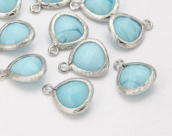Sky Blue Glass Pendant(Small) Polished Rhodium -Plated - 2 Pieces <G0008-PRSB>