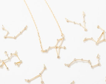 1PC - CZ Zodiac pendants, Constellation Necklace Charm, Constellation Jewelry Birth Signs 14K Polished Gold - Plated [P0612-PG]