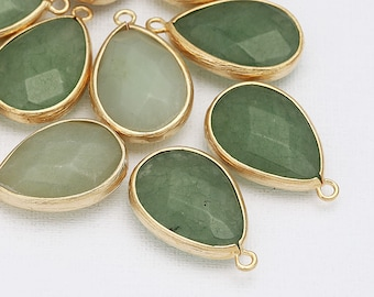 Clearance 35% - Green Aventurine TearDrop Stone Pendants Matte Gold -Plated - 2 Pieces [G0016-MGGA]_Regular price 5.40