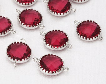 Fuchsia Round Glass Connector Polished Rhodium-Plated - 2 Pieces <G0032-PRFC>