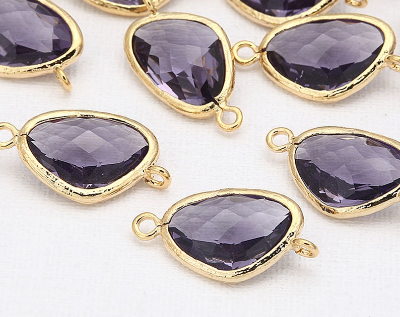 Tanzanite Glass Connector Pendant Polished Gold Plated  2 image 0