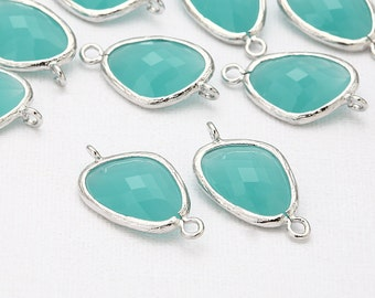 Mint Glass Connector, Pendant Polished Rhodium-Plated - 2 Pieces <G0011-PRMT>