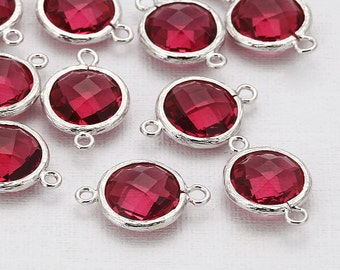 Fuchsia Round Glass Connector(Parallel)  Polished Rhodium-Plated - 2 Pieces [G0020-PRFC]