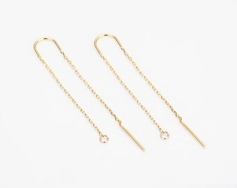 4PCS - Long Chain Earring, Chain Hook Earring, Jewelry Earring Supplies, 14K Polished Gold Plated [H0054-PG]