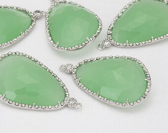 Fluorite Glass Pendant, Crystal Czech Stone.  Polished Rhodium -Plated - 2 Pieces [G0030-PRFR]
