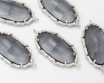 Clearance 35% - Charcoal Glass Pendant Cubic Zirconia(Cross Connector)  Polished Rhodium-Plated - 1 Pieces [G0089-PRCC]_Regular price 7.90