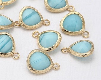 Sky Blue Glass Pendant(Small) Polished Gold -Plated - 2 Pieces <G0008-PGSB>