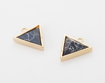 Black Marble Triangle Pendant (Large), Howlite Cone Charm Polished Gold -Plated - 2 Pieces [G0145L-PGBM]