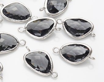 Charcoal Glass Connector, Pendant Polished Rhodium -Plated - 2 Pieces [G0011-PRCC]