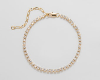 """1PC - 6""""+2"""", 16""""+2"""". 2.5mm Cubic Zirconia Necklace, Tennis Necklace, 14K Polished Gold Plated+ Water-Resistant Coated [NT0020-PG]"""