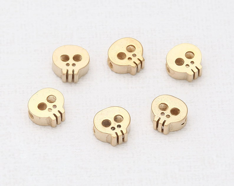 Skull Beads Matte Gold-Plated  2 Pieces TT0001-MG image 0