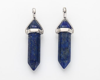 Lapis Stone Gemstone Pointed Pendant (Medium), Charm Polished Rhodium-Plated - 2 Pieces [G0113-PRLL]