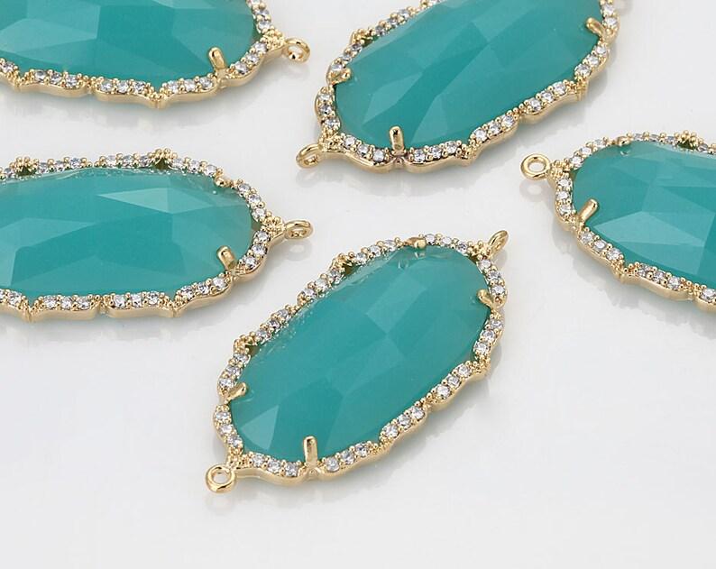 Clearance60%DC  Mint Glass Pendant Cubic ZirconiaCross image 0