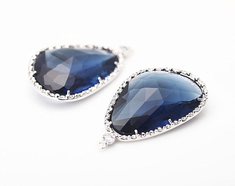 Montana Glass Pendant Crystal Czech Stone.  Polished Rhodium image 0