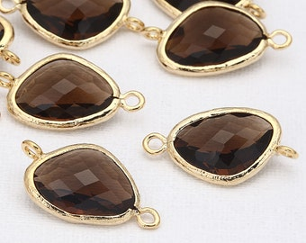 Mocha Glass Connector, Pendant Polished Gold -Plated - 2 Pieces [G0011-PGMC]
