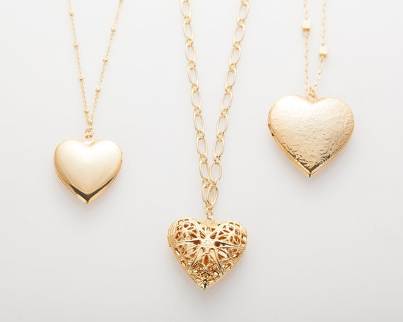 Heart Locket Series, Locket Charm Necklace Pendant Polished Gold Plated   1 Pieces [P0734 Pg] by Etsy