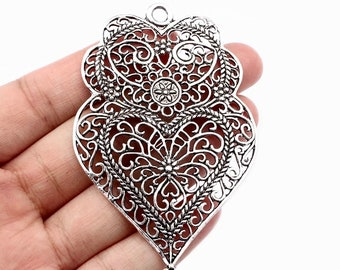 DIY charm Filigree 20mm antique silver 3D Heart charm choose 1 or 2 charms open fancy scroll design silver tone heart charm or pendant