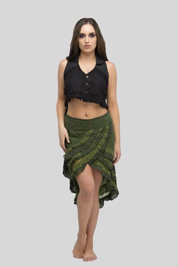 Pixie Mini Skirt,Fairy Wrap Skirt,Festival Skirt,Forest skirt,Gypsy Skirt,Bohemian,Rave,Elven,Hippie,Burning Man,Goa,Psytrance Doof Skirt.