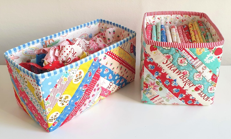 Tubby Boxes. PDF Pattern. Fabric baskets. Storage. Instant image 0