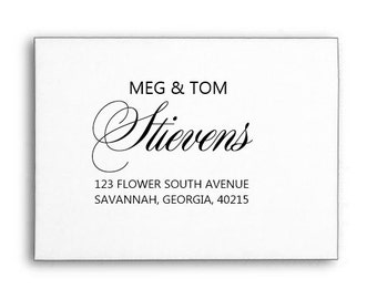 Custom Return Address Stamp, Personalized Stamp, Calligraphy Stamp, Wood Handle or Self Inking