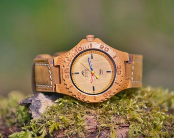 NALU Large BAM-Boo Watch - Leather Strap