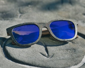 Driskills Sunglasses Stone & Bamboo Frame - Blue Lens.