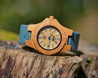 NALU SMALL Bamboo Watch - Cork strap BLUE