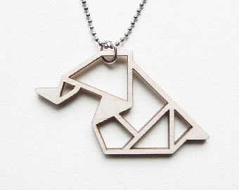 Origami elephant necklace ~ Laser cut from birch wood ~ Geometric pendant ~ Gift boxed