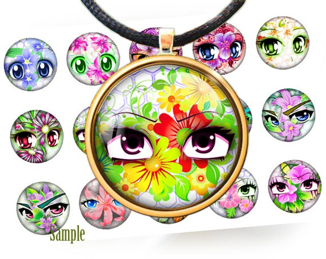 Anime Eyes And Summer Flowers Digital Bottle Caps Images