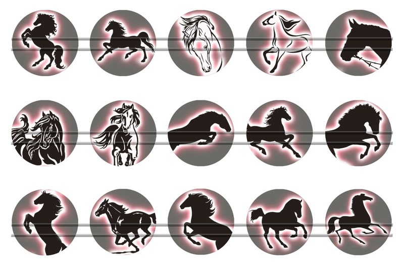 Horses silhouettes 1.25 1.5 for Jewelry Making BUY 2 GET 1 FREE 25mm Digital bottle cap images 30mm 1/'/' circles