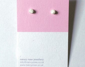 Handmade Silver Dot Stud Earrings