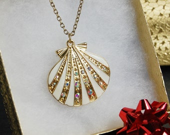 Shell Pendant Necklace- Gold Rhinestone Encrusted Shell Pendant, Stocking Stuffer