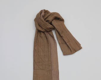 wool voile and cotton sandy brown  quilted small scarf