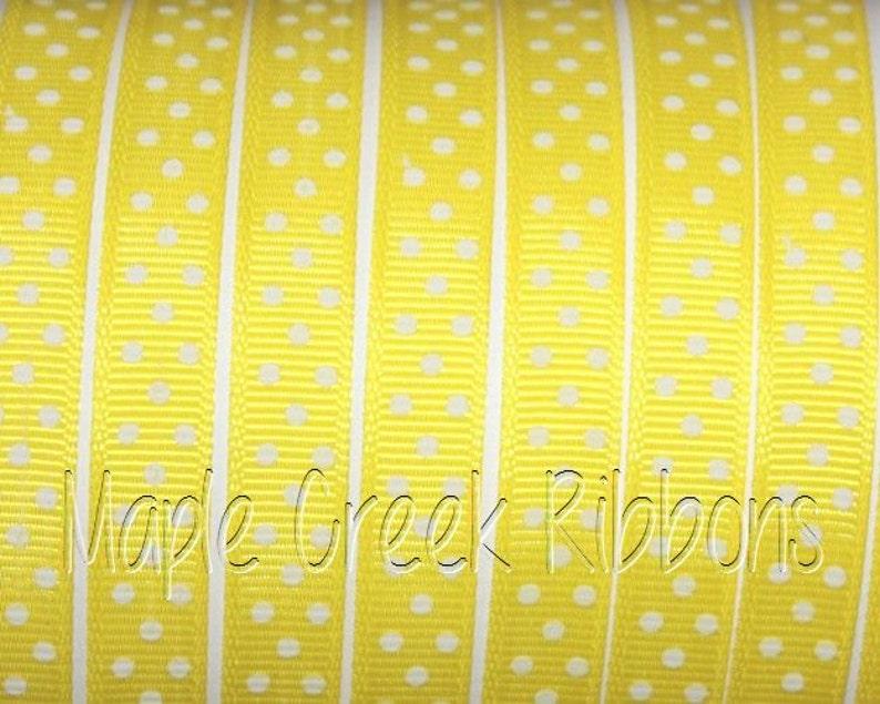 38 Yellow with White Polka Dots Grosgrain Ribbon 38 x 1 yard