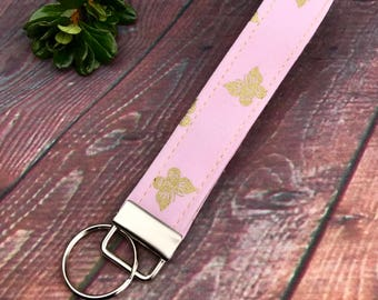 Butterfly key fob, Pink and Gold key chain, wristlet, stocking stuffer