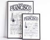 San Francisco 32 x 45 doctor Paper Travel With Me Illustration each way Affiche Ville Decoration wall clouded and white Map design