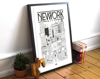 New York / Doctor Paper / Travel With Me / Illustration / Travel / Poster / City / Wall Decoration / Black and White / Map / Design