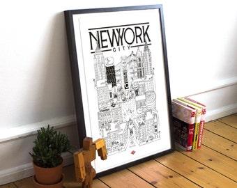New York / A4 / Docteur Paper / Travel With Me / Illustration / Voyage / Affiche / Ville / Décoration murale / Noir et Blanc / Map / Design