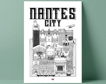 Nantes City / Doctor Paper / Travel With Me / Illustration / Travel / Poster / City / Wall Decoration / Black and White / Design
