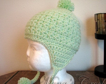 Hand Crocheted Green Star Stitch Hat With Ear Flaps And Pom Poms  0ba3213522d