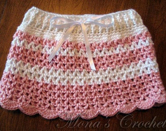 Hand Crocheted Baby Skirt   Infant Skirt   Striped Skirt   Pink and White Skirt   Baby Shower Gift - Size 0 to 3 months