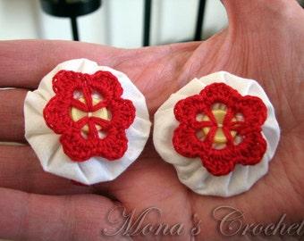 Hand Crocheted Red Button Flower And White Fabric YoYo Hair Barrette   Crochet Hair Clip   Crochet Hair Barrette - Set of 2