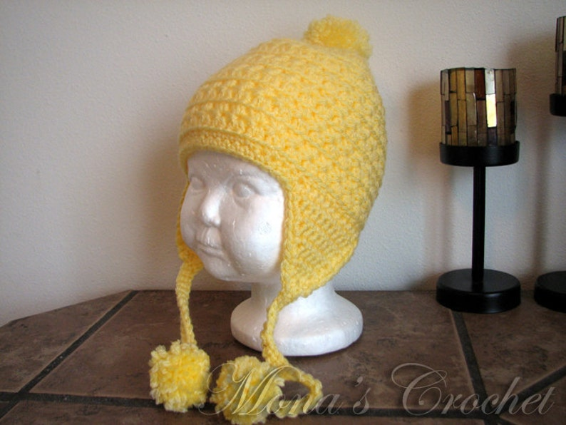 e6a176fa Hand Crocheted Yellow Star Stitch Hat With Ear Flaps And Pom | Etsy