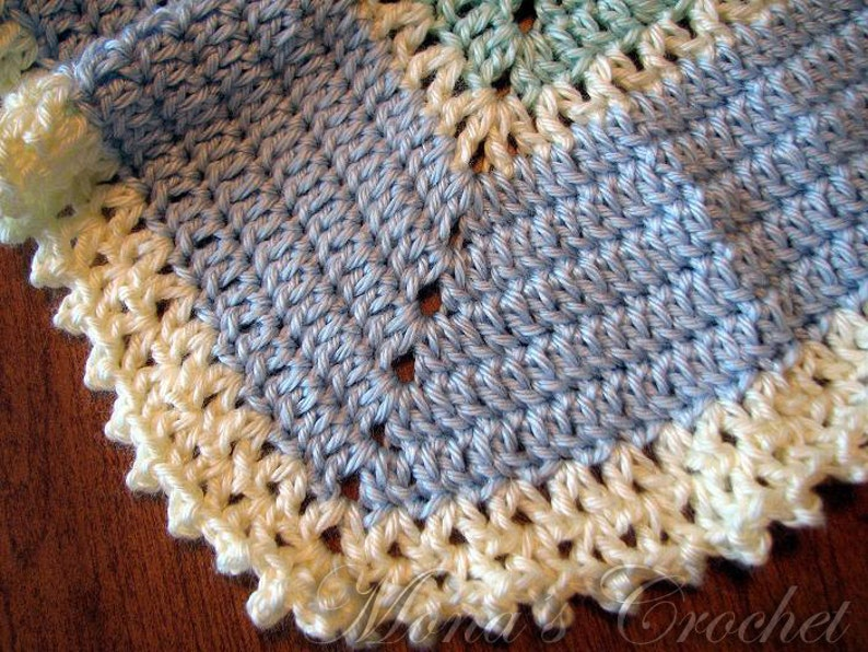 Baby Shower Gift Green and Yellow 12 Point Star Baby Blanket Baby Afghan Round Blanket Round Afghan Hand Crocheted Blue