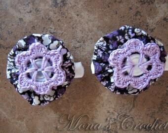 Hand Crocheted Lavender Button Flower And Fabric YoYo Hair Barrette   Crochet Hair Clip   Crochet Hair Barrette - Set of 2