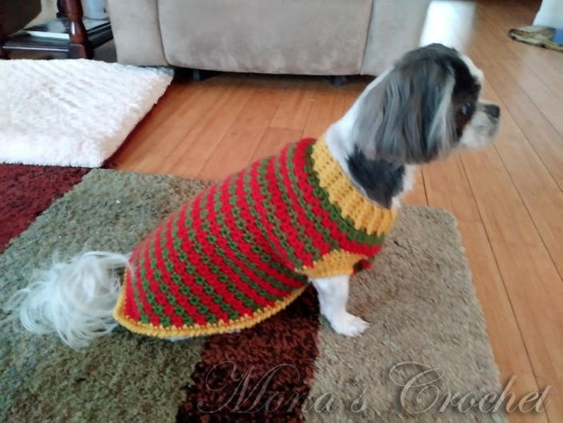 Hand Crocheted Christmas Dog Sweater Red Green And Gold Dog Etsy