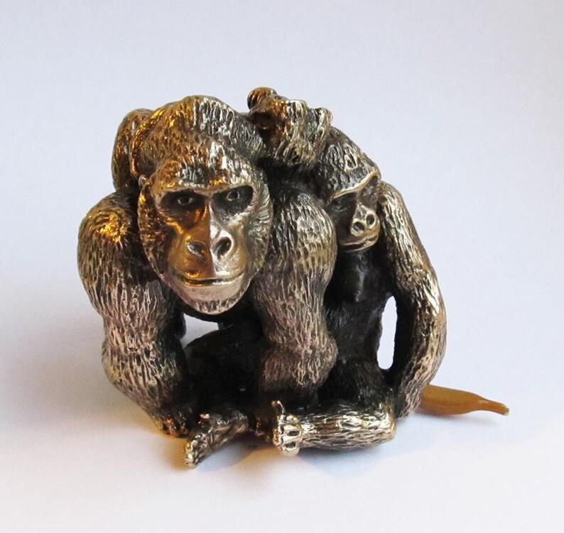 Monkey Sculpture An Animalistic Sculpture Gorillas Family Sculpture I will not say I see I hear Bronze Sculpture Monkeys
